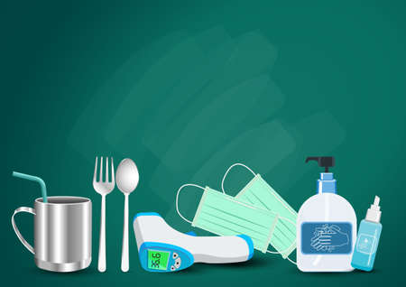 Back to school new normal lifestyle concept.The range outbreak control. the Covid-19. Prepare With important as medical masks, hand washing gels, fever measuring devices.