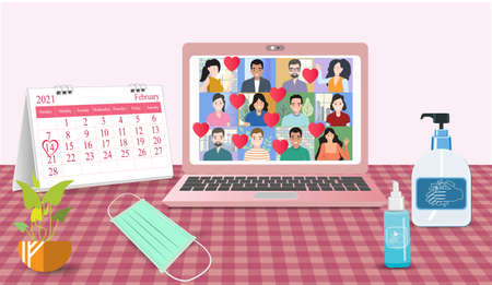 People video calls Online Valentine's day the epidemic control  at home on laptops. Composition on a desk. with Calendars medical masks, hand washing gels is a new normal, new way of life. Ilustração