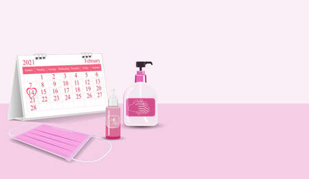 Important equipment during the epidemic control   as medical masks, hand washing gels is new normal of life On Valentine's day. with Calendar marked on 14th February 2021 vector Pink element Ilustração