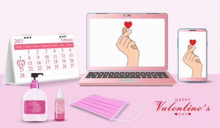 Mini heart on video calls Online Valentine's day the epidemic control   at home on laptops. Composition desk with Calendars medical masks, hand washing gels is a new normal, new way of life.