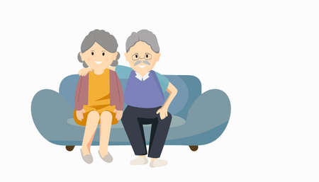 Senior couple in love sitting on a sofa,  Aged people. Grandparents a happy family concept on isolated white background. Vector illustration in a flat style.