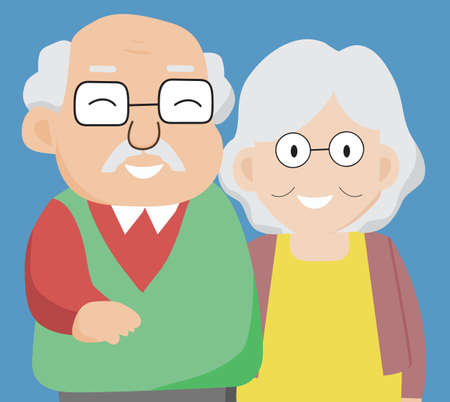 Senior couple in love, Aged people. Grandparents a happy family concept on isolated biue background. Vector illustration in a flat style.