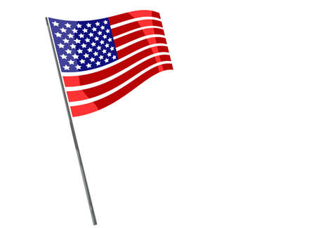 Flags of USA. American flag mounted on a shaft or pole. Waving American Stars and Stripes made in two colors. Vector illustration isolated on white With copy space for your design.