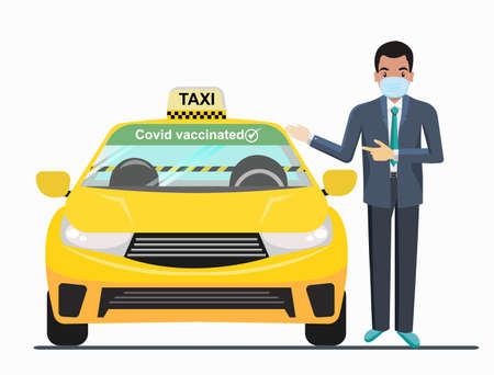 Guarantee Have been vaccinated, Using a taxi, people have to wear a mask and require a barrier to prevent the outbreak. in the taxi. to New normal, New way of life. Vetores