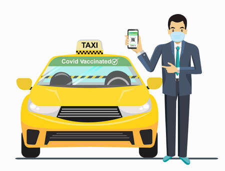 Guarantee Have been Covid vaccinated, Using a taxi, people have to wear a mask and require a barrier to prevent the outbreak from covid19. in the taxi. to New normal, New way of life.