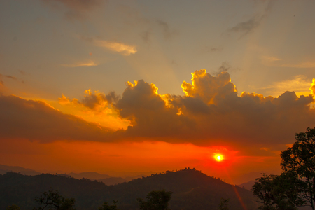 Sunset at mountain in Thailand