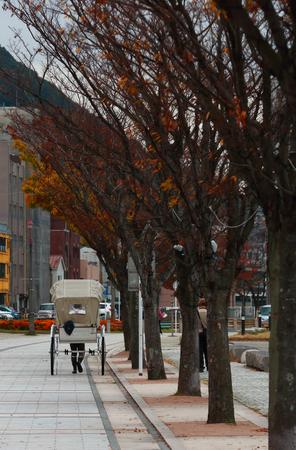 Japanese roadside cart near the pier at Mojiko,Kitakyushu,Fukuoka,Japan.