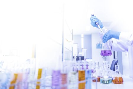 Scientific Glassware For Chemical,Laboratory Research Analysis Laboratory - Scientist With Pipette And Beaker - Equipment Chemical