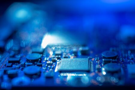 Circuit board.Motherboard digital chip. Electronic computer hardware technology.Integrated communication processor.Information engineering component.Tech science background.shallow focus effect. 写真素材 - 129955633