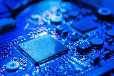 Circuit board.Motherboard digital chip. Electronic computer hardware technology.Integrated communication processor.Information engineering component.Tech science background.shallow focus effect. 写真素材 - 129955638