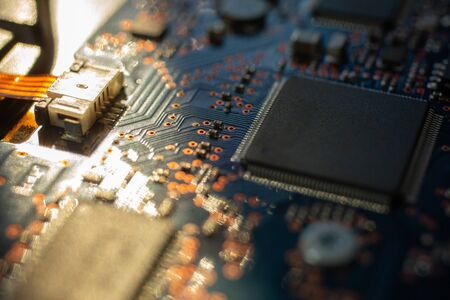 Circuit board.Motherboard digital chip. Electronic computer hardware technology.Integrated communication processor.Information engineering component.Tech science background.shallow focus effect. 写真素材 - 129957170