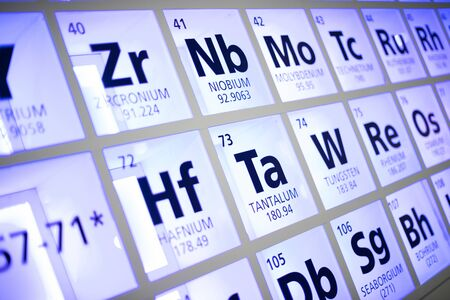 Periodic table of elements. Selective focus. 写真素材 - 129957260