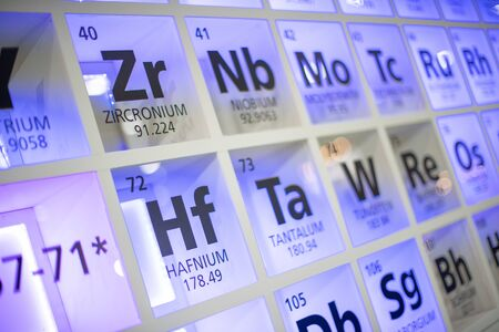 Periodic table of elements. Selective focus.