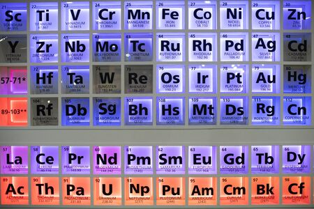 Periodic table of elements. Selective focus. 写真素材 - 129957265