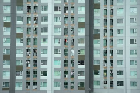 Windows of apartmens in thailand. 写真素材 - 129957918