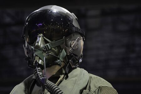 clothing for pilots or Fighter pilot suit on black background 写真素材 - 129957989