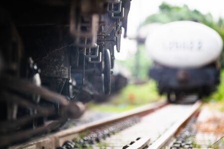 Rusty old iron freight train In the train station, Thai train stops at the station.soft focus. 写真素材 - 129958017