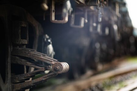 Rusty old iron freight train In the train station, Thai train stops at the station.soft focus. 写真素材 - 129958022