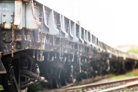 Rusty old iron freight train In the train station, Thai train stops at the station.soft focus.