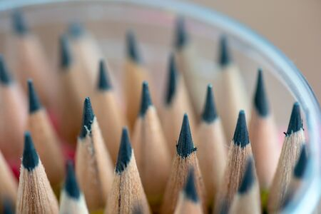 Close up front image of stacked pencils tip. shallow focus effect. 스톡 콘텐츠