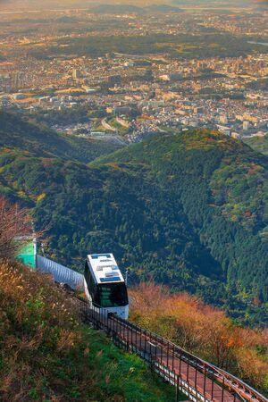 slope car for tourists At Sakurayama Observatory, Kitakyushu, Fukuoka, Japan, In the autumn season. Stock fotó