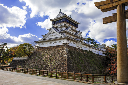 Kokura Castle was built by Hosokawa Tadaoki in 1602, Historical building. Kokura Castle is a Japanese castle in Kitakyushu, Fukuoka Prefecture, Japan. With colorful leaves and blue sky.