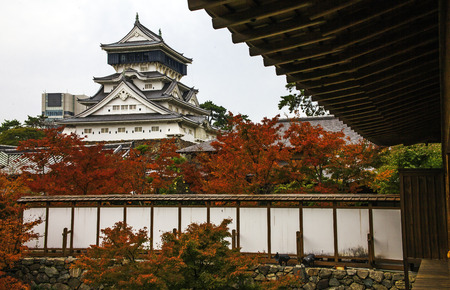 Kokura-jo Castle, Japanese Castle in Katsuyama Public Park, Filled with red leaves In the fall leaves. Onsen atmosphere.