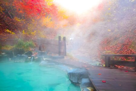 Japanese Hot Springs Onsen Natural Bath Surrounded by red-yellow leaves.