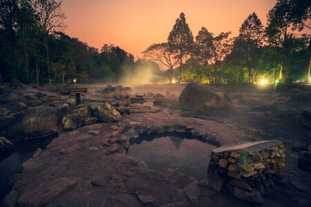 Hot Springs Onsen Natural Bath at National Park Chae Son, Lampang Thailand.In the morning sunrise.Natural hot spring bath surrounded by mountains in northern Thailand.