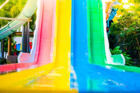 Many colors of water park slider.shallow focus effect.