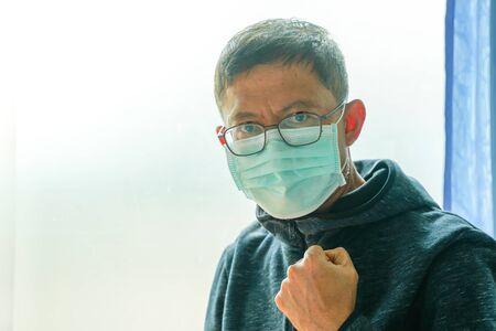 Asian men in hospitals wearing medical masks