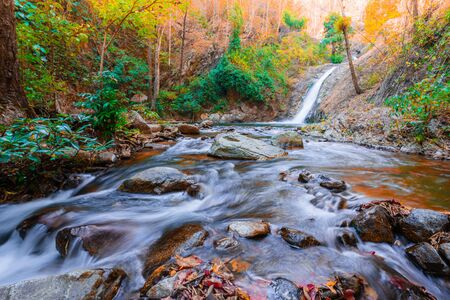 Hot Springs Onsen Natural Bath Surrounded by red-yellow leaves. In fall leaves fall,waterfall in the natural forest. at National Park Chae Son, Lampang Thailand.