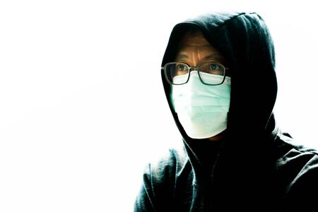 Coronavirus - 2019-nCoV  Virus Concept Mask, Surgical Face Masks, Asian Men Wearing Anti-Germ and Dust Masks, pm.5,Chinese coronavirus outbreak.Stressed patient. 写真素材