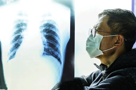 Coronavirus - 2019-nCoV  Virus Concept Mask, Surgical mask protective mask, Complete with X-ray Film Lungs,Chinese coronavirus outbreak.