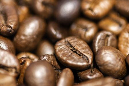 Shallow depth of field shot of coffee beans on white backgroun.