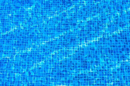 water surface below the pool floor,Blue tile background texture 写真素材