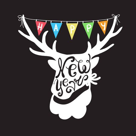 Deer head with colorful flags Holiday Vector Illustration with Lettering Composition