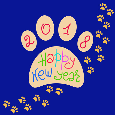 Greeting card Happy New Year. The imprint of dog paws and a handwritten inscription. Holiday Vector Illustration of the year yellow dog. Graphic design for banner, poster, card, cover, invitation