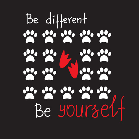 Be different Be yourself quote lettering. Calligraphy inspiration graphic design typography element for print, postcard. Print for poster, t-shirt, bags, postcard, sweatshirt.Cute simple vector sign.