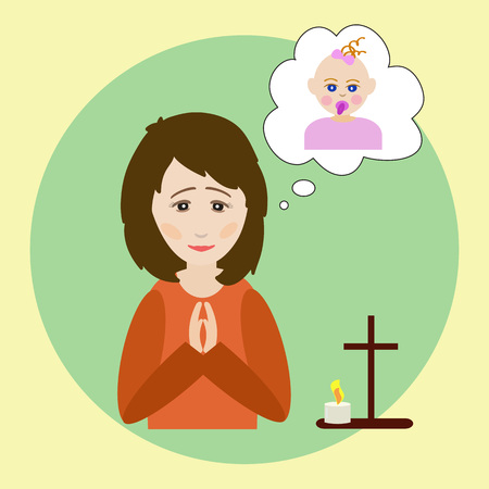 The woman prays for a child. The figure of a praying woman, picture of a baby, a prayer cross and a burning candle. Vector illustration on religious theme