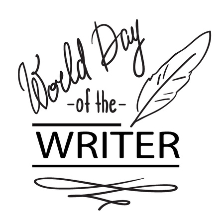 World Day of the Writer - 3 March - black and white handwritten postcard, logo, cover, invitation, flyer. Cute simple vector sign. Ilustração