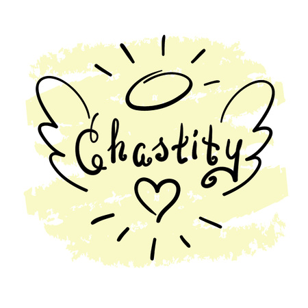 Chastity - motivational quote lettering. Print for poster, prayer book, church leaflet, t-shirt, bags, postcard, sticker. Simple cute vector on a religious theme