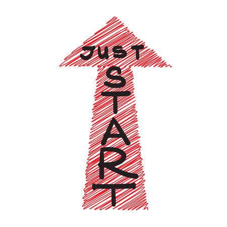 Just start - handwritten motivational quote. Print for inspiring poster, t-shirt, bags, icon, postcard, flyer, sticker, sweatshirt. Simple energetic motivational vector sign.  イラスト・ベクター素材