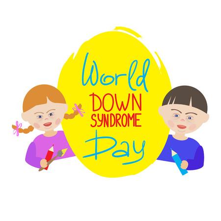 Los niños con síndrome de Down llevan un cartel azul que dice el Día Mundial del Síndrome de Down. Ilustración para la portada del libro, folletos, volantes, invitaciones, postales, pancartas, la lista de eventos y actividades.
