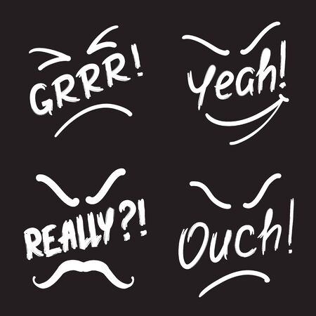 Set of exclamation Grrr! Yeah! Really! Ouch !. Print for poster, t-shirt, bags, Icon , postcard, flyer, sticker, sweatshirt. Simple vector sign.