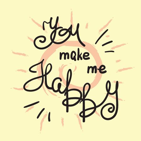 You make me happy, handwritten quote with swirl design background.