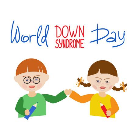 Ilustración del Día Mundial del Síndrome de Down que muestra a un niño y una niña abrazados