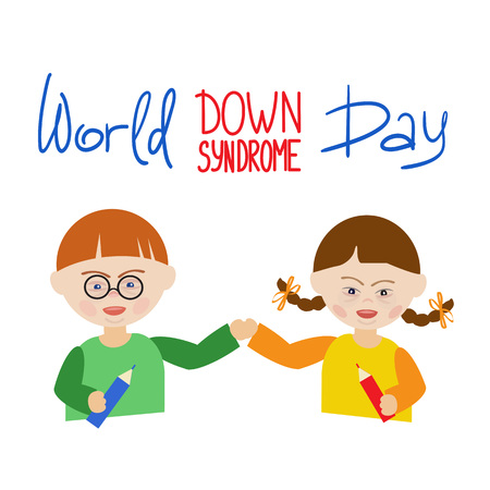 World Down Syndrome Day illustration showing a boy and a girl holding each other