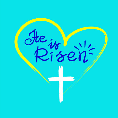 He is risen, quote lettering, religious poster, with cross and heart illustration. 矢量图像