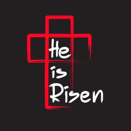 He is risen - motivational quote lettering, religious poster. Stockfoto - 96749364